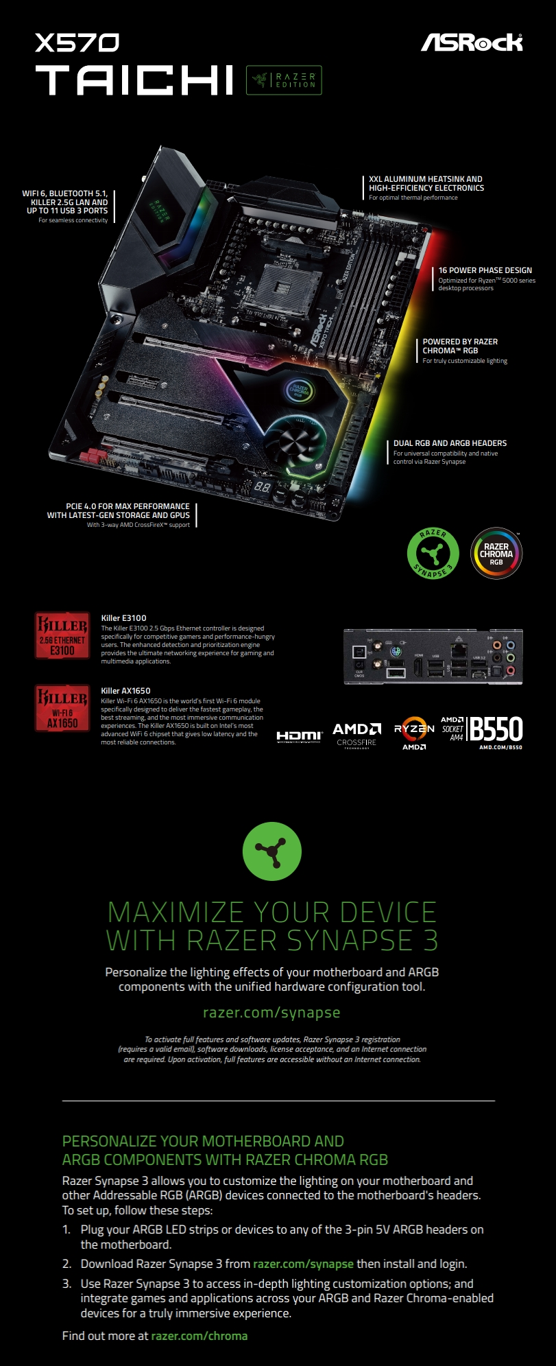 A large marketing image providing additional information about the product ASRock X570 Taichi Razer Edition AM4 ATX Desktop Motherboard - Additional alt info not provided