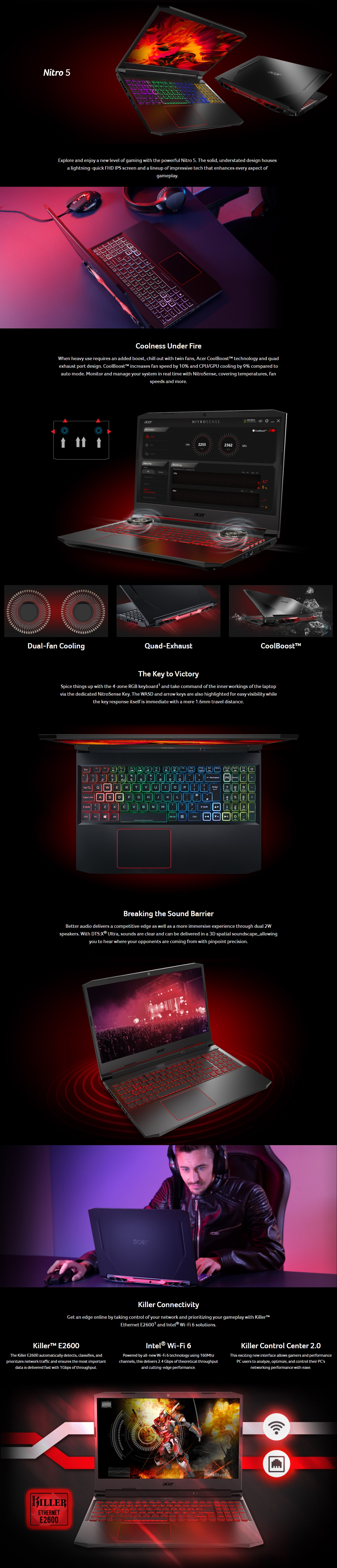 "A large marketing image providing additional information about the product Acer Nitro 5 Gaming 15.6"" i7 GTX 1650 Ti Windows 10 Gaming Notebook - Additional alt info not provided"