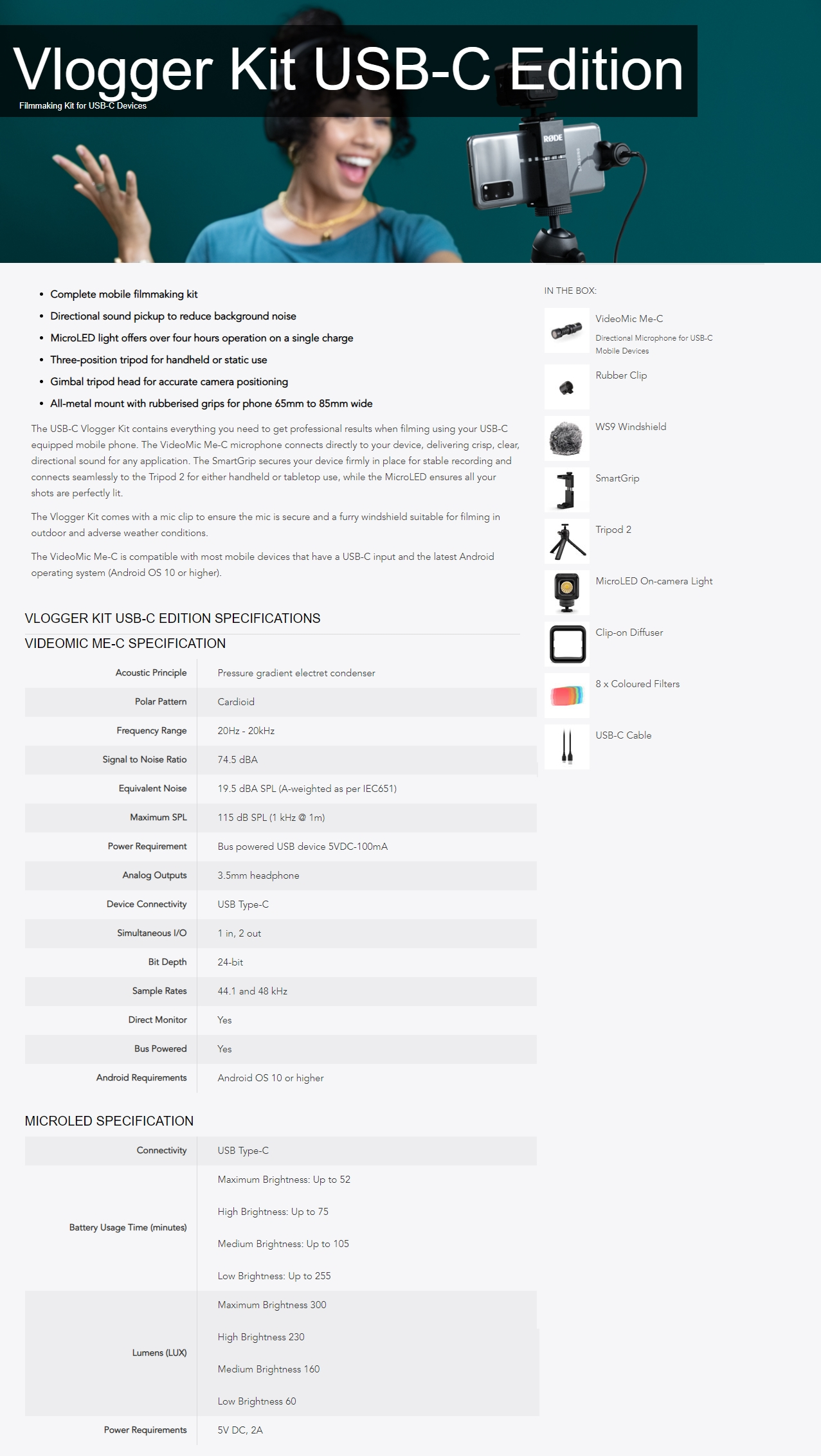 A large marketing image providing additional information about the product RODE Vlogger Kit USB-C Edition - Additional alt info not provided
