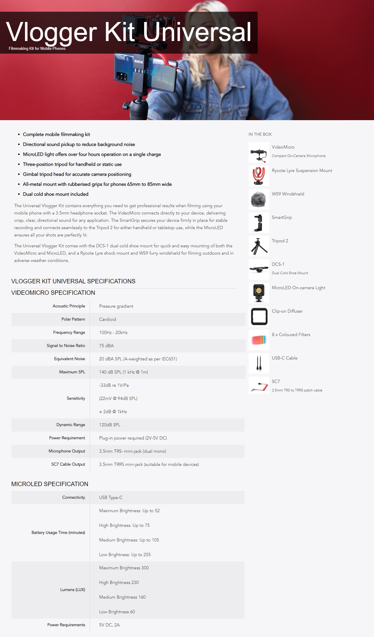 A large marketing image providing additional information about the product RODE Vlogger Universal Kit - Additional alt info not provided