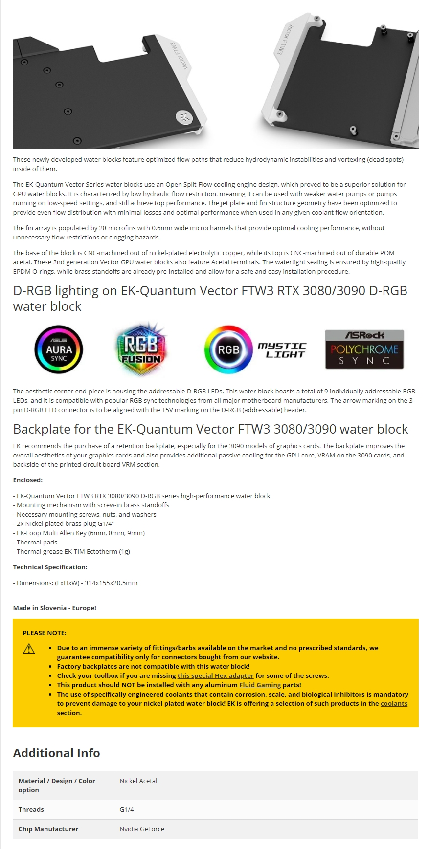 A large marketing image providing additional information about the product EK-Quantum Vector FTW3 RTX 3080/3090 D-RGB - Nickel + Acetal - Additional alt info not provided