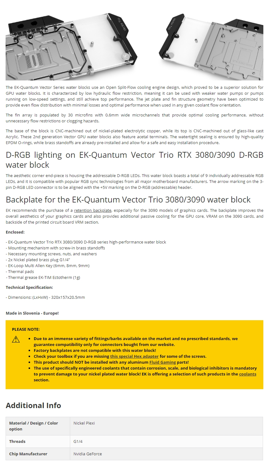 A large marketing image providing additional information about the product EK-Quantum Vector Trio RTX 3080/3090 D-RGB Nickel/ Plexi GPU Waterblock - Additional alt info not provided