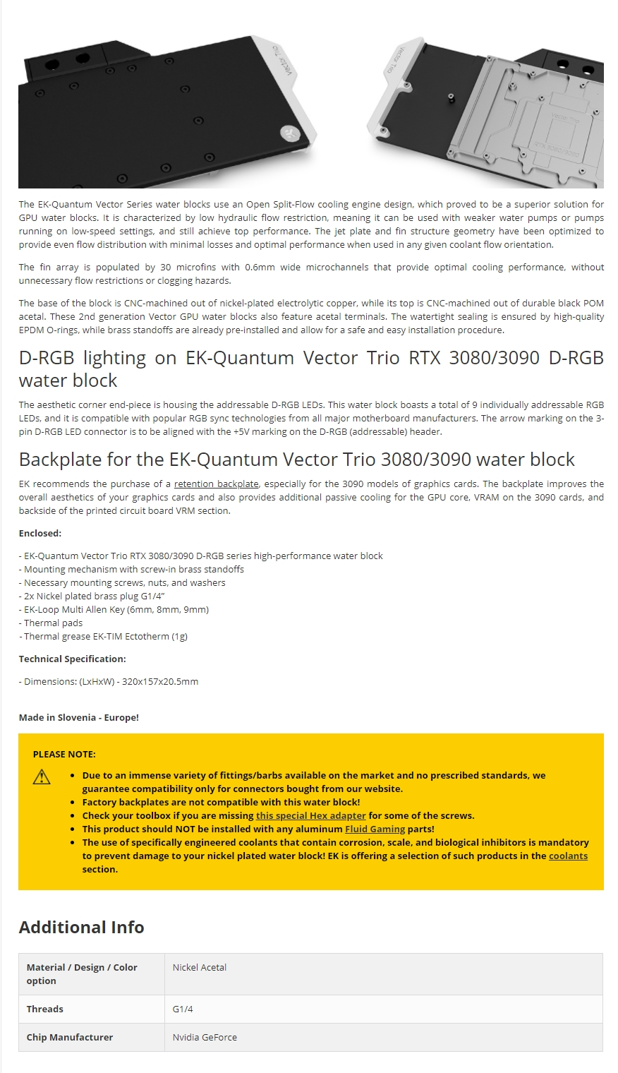 A large marketing image providing additional information about the product EK-Quantum Vector Trio RTX 3080/3090 D-RGB Nickel/Acetal GPU Waterblock - Additional alt info not provided