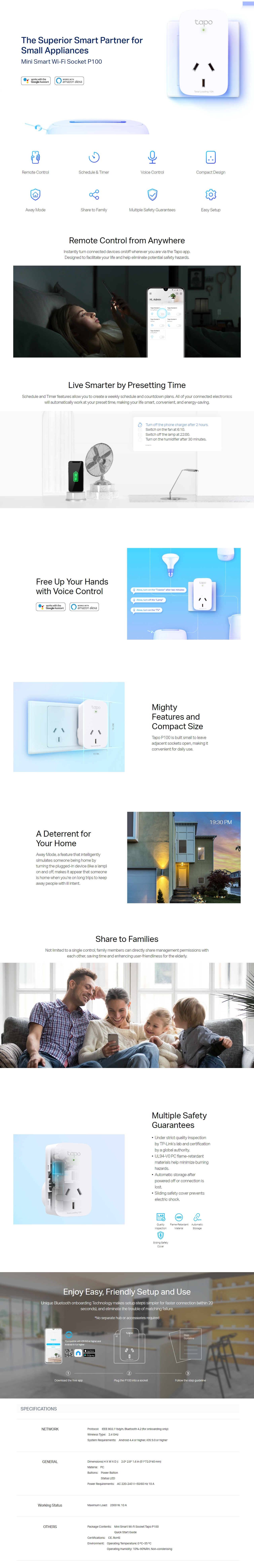 A large marketing image providing additional information about the product TP-LINK Tapo P100 Mini Smart WiFi Socket - Additional alt info not provided