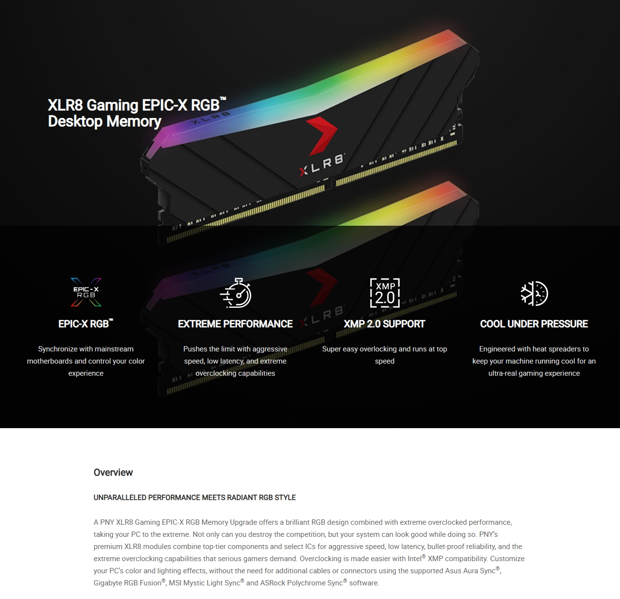 A large marketing image providing additional information about the product PNY XLR8 32GB (2x16GB) EPIC-X RGB Gaming DDR4 C16 3200Mhz - Black Edition - Additional alt info not provided