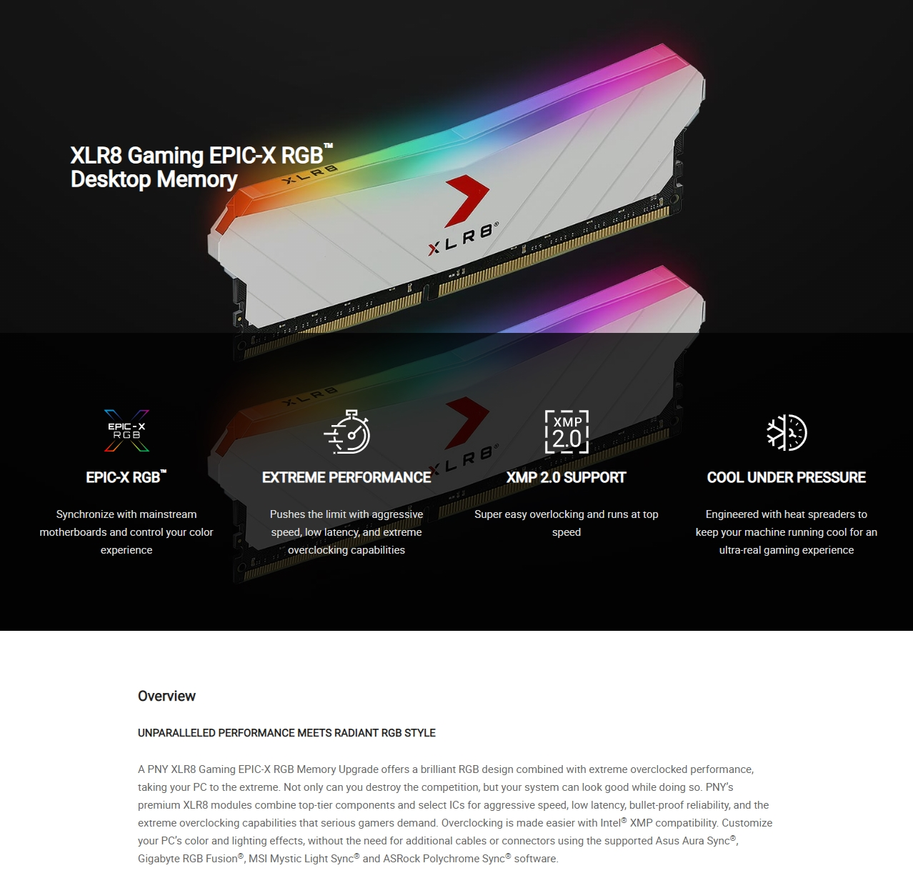 A large marketing image providing additional information about the product PNY XLR8 16GB (2x8GB) EPIC-X RGB Gaming DDR4 C18 3600Mhz - White Edition - Additional alt info not provided