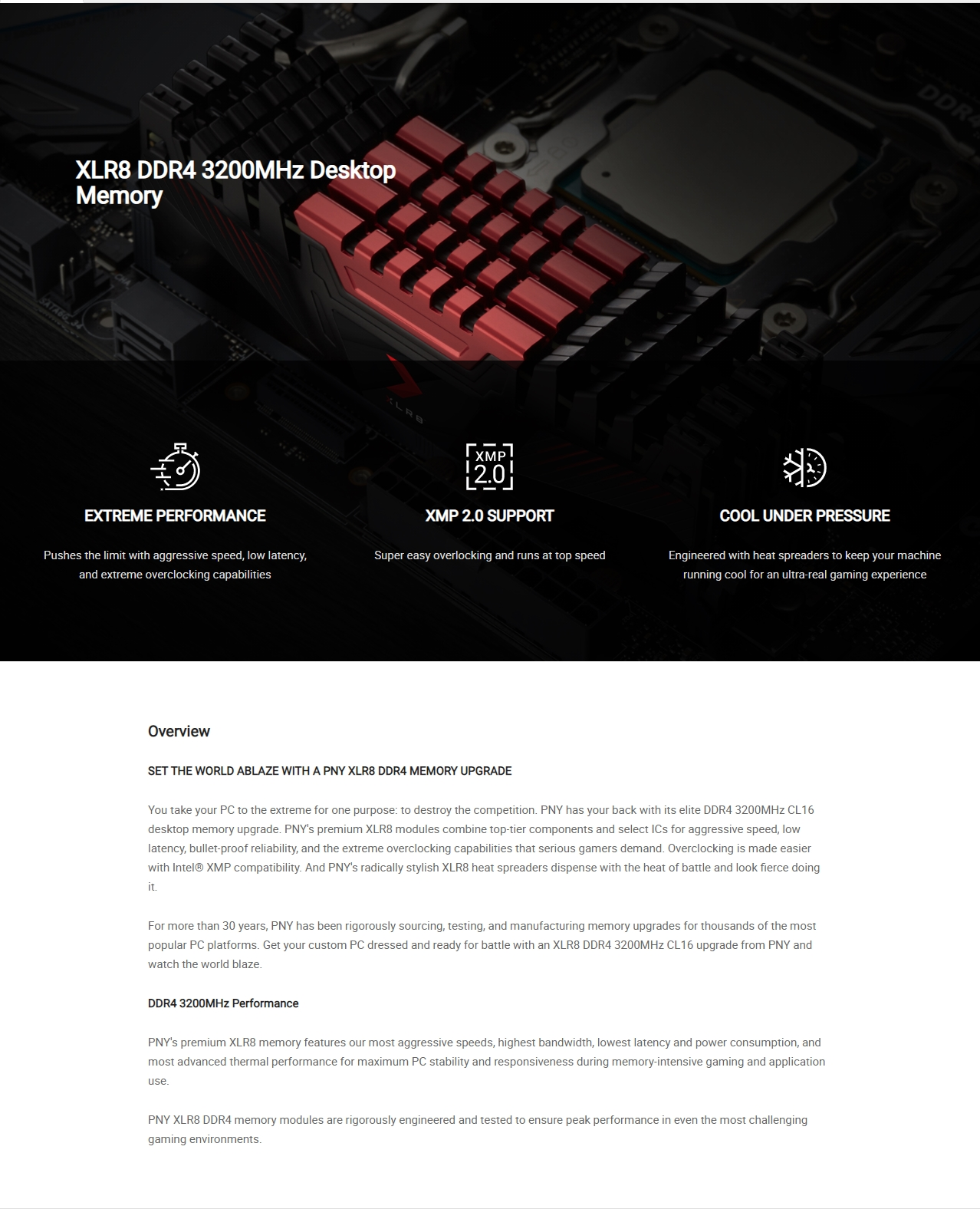 A large marketing image providing additional information about the product PNY XLR8 16GB (2x8GB) DDR4 C16 3200MHz - Additional alt info not provided