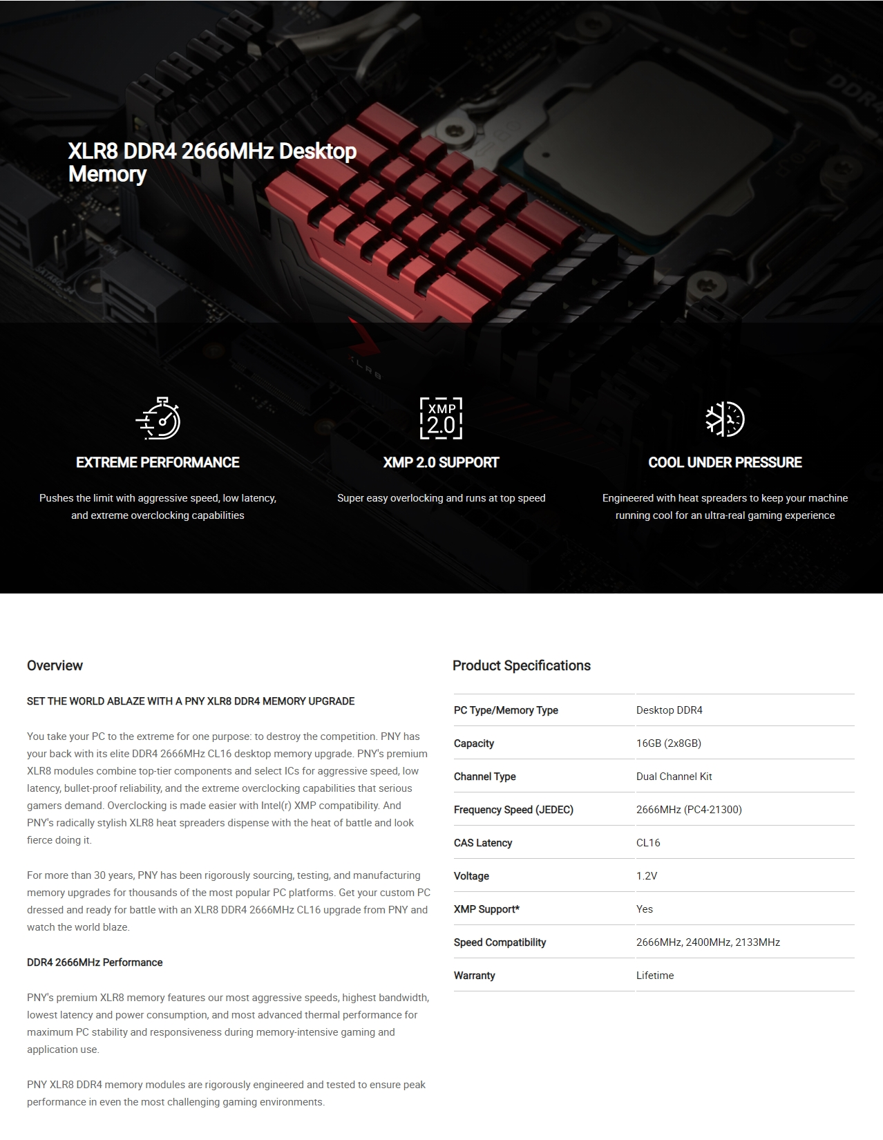 A large marketing image providing additional information about the product PNY XLR8 16GB (2x8GB) DDR4 C16 2666MHz - Additional alt info not provided