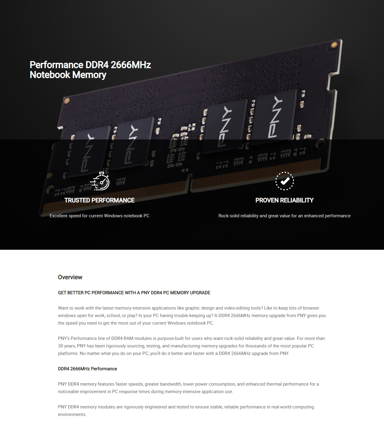 A large marketing image providing additional information about the product PNY Performance 32GB DDR4 C19 1.2v SO-DIMM 2666Mhz - Additional alt info not provided