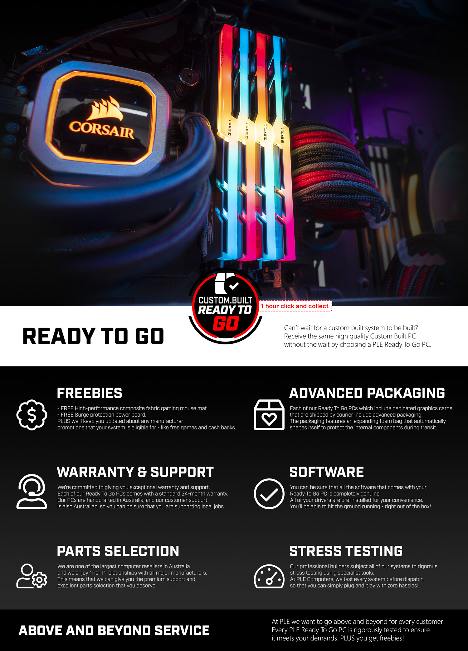 A large marketing image providing additional information about the product PLE Synergy Prebuilt PC - Additional alt info not provided