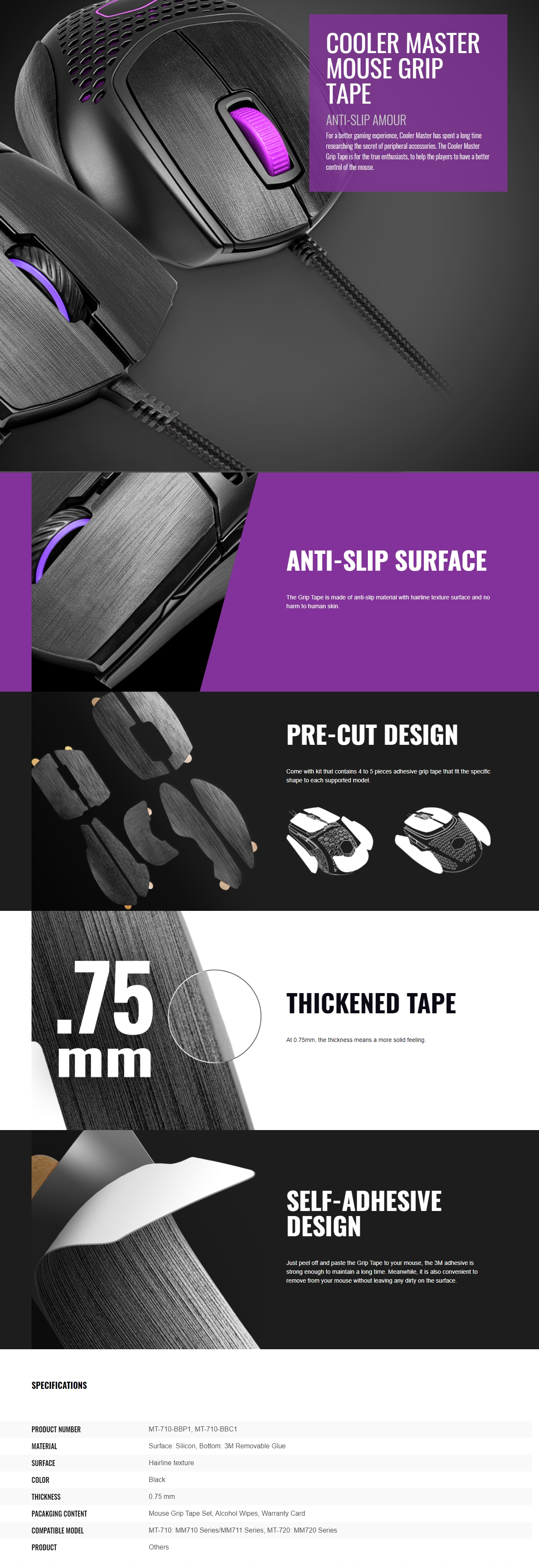 A large marketing image providing additional information about the product Cooler Master MM720 Mouse Grip Tape - Additional alt info not provided