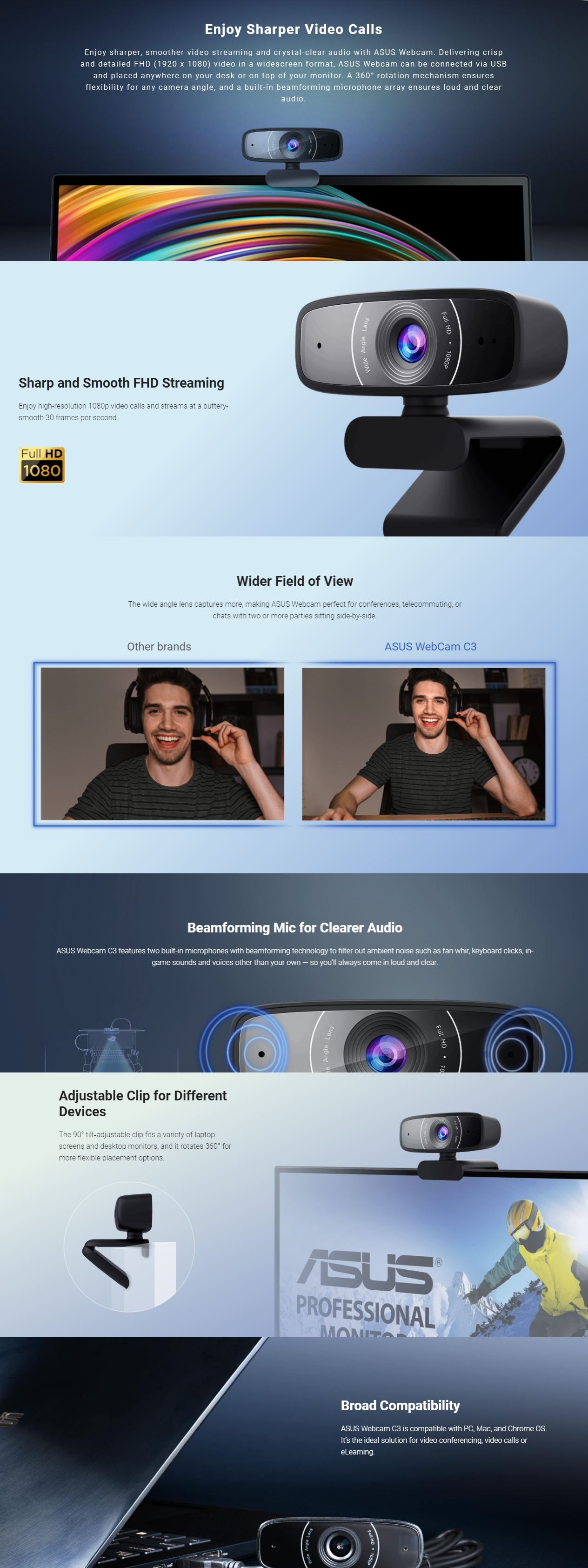 A large marketing image providing additional information about the product ASUS C3 1080p Webcam - Additional alt info not provided