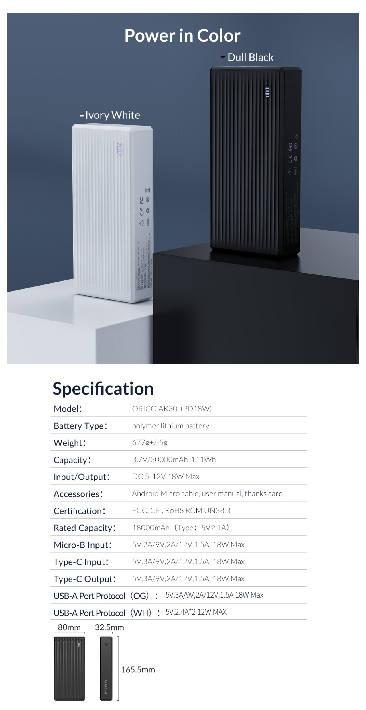 A large marketing image providing additional information about the product Orico AK30 30000mAh Lithium Power Bank - Additional alt info not provided
