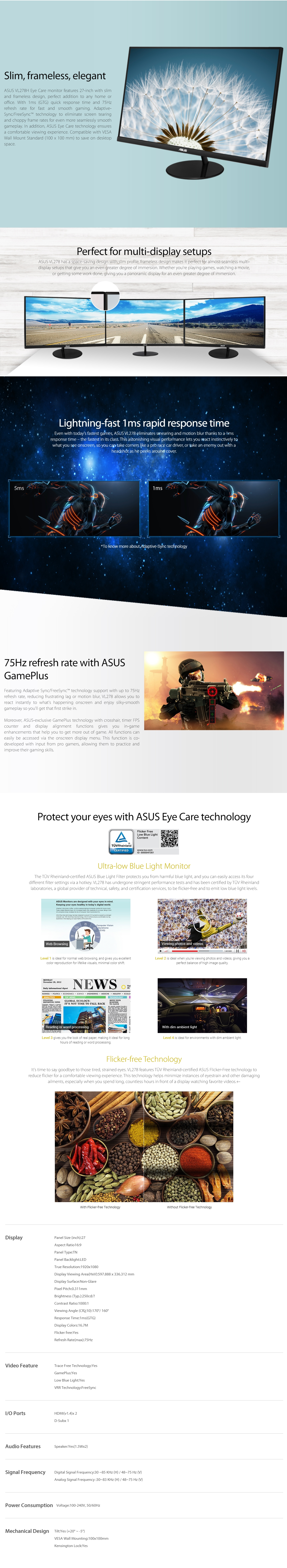 """A large marketing image providing additional information about the product ASUS VL278H 27"""" Full HD 1MS TN FreeSync Monitor - Additional alt info not provided"""
