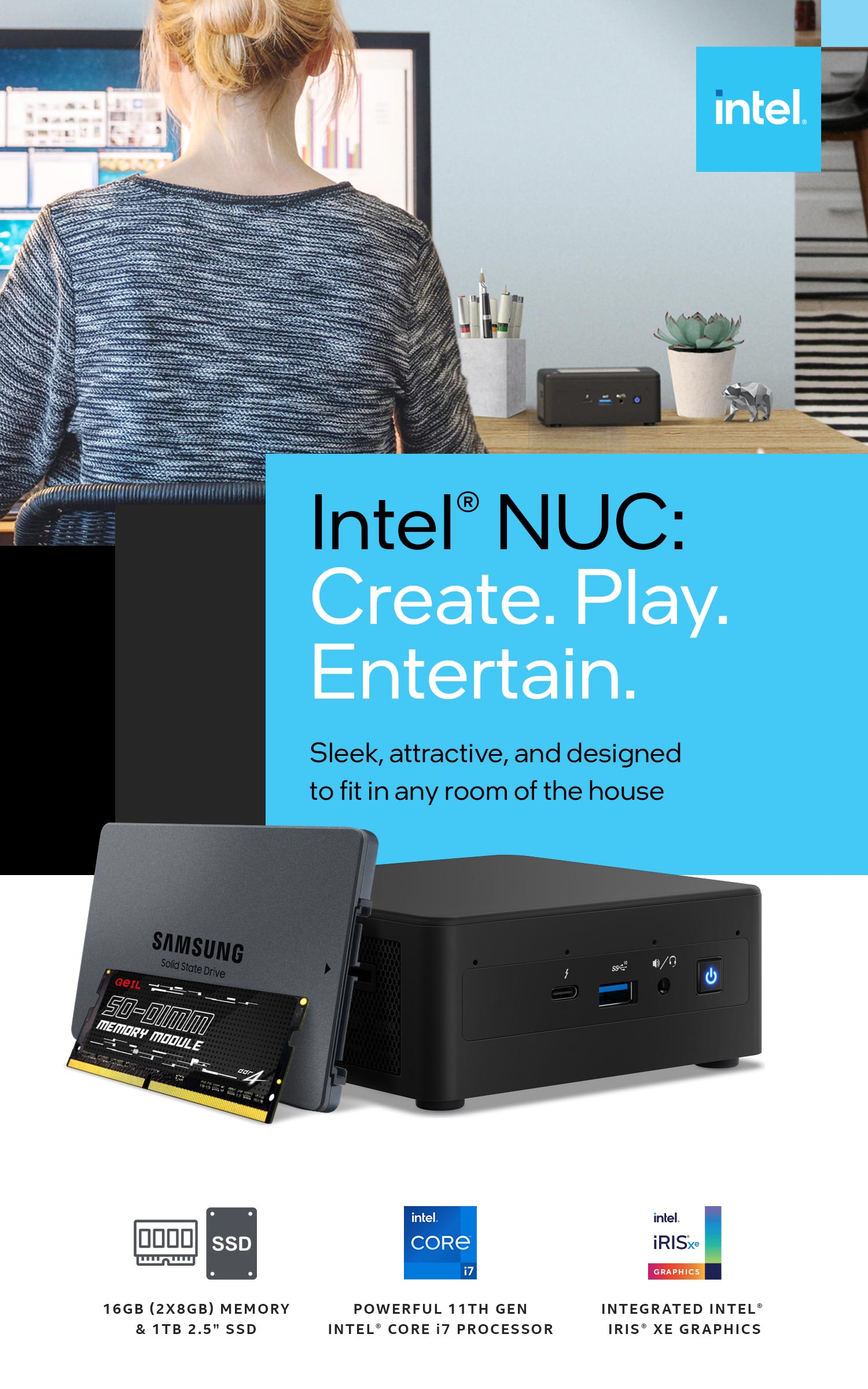 A large marketing image providing additional information about the product Intel 11th Gen i7 NUC DIY Starter Bundle - Additional alt info not provided