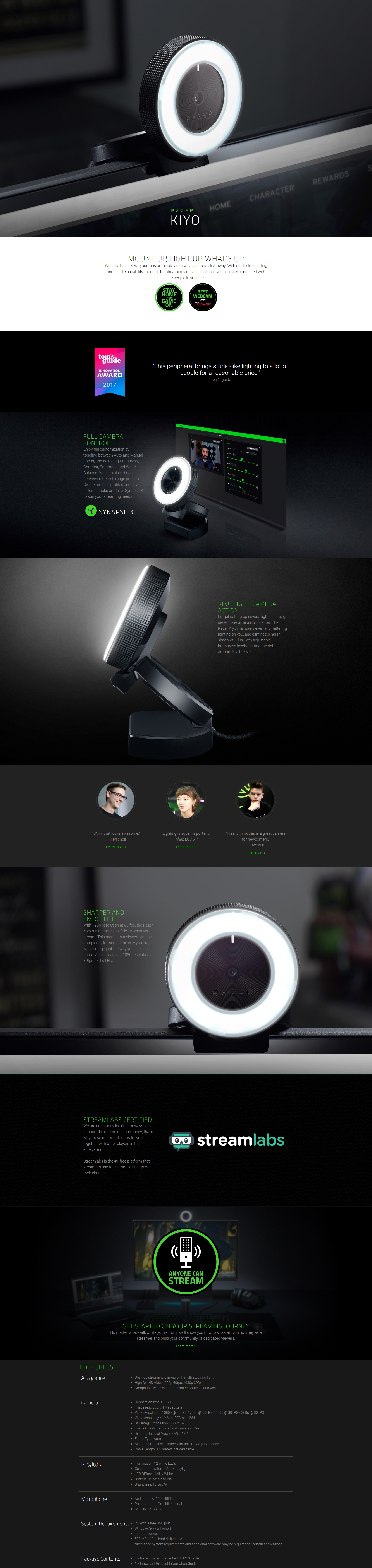 A large marketing image providing additional information about the product Razer Kiyo Desktop Streaming Camera - Additional alt info not provided