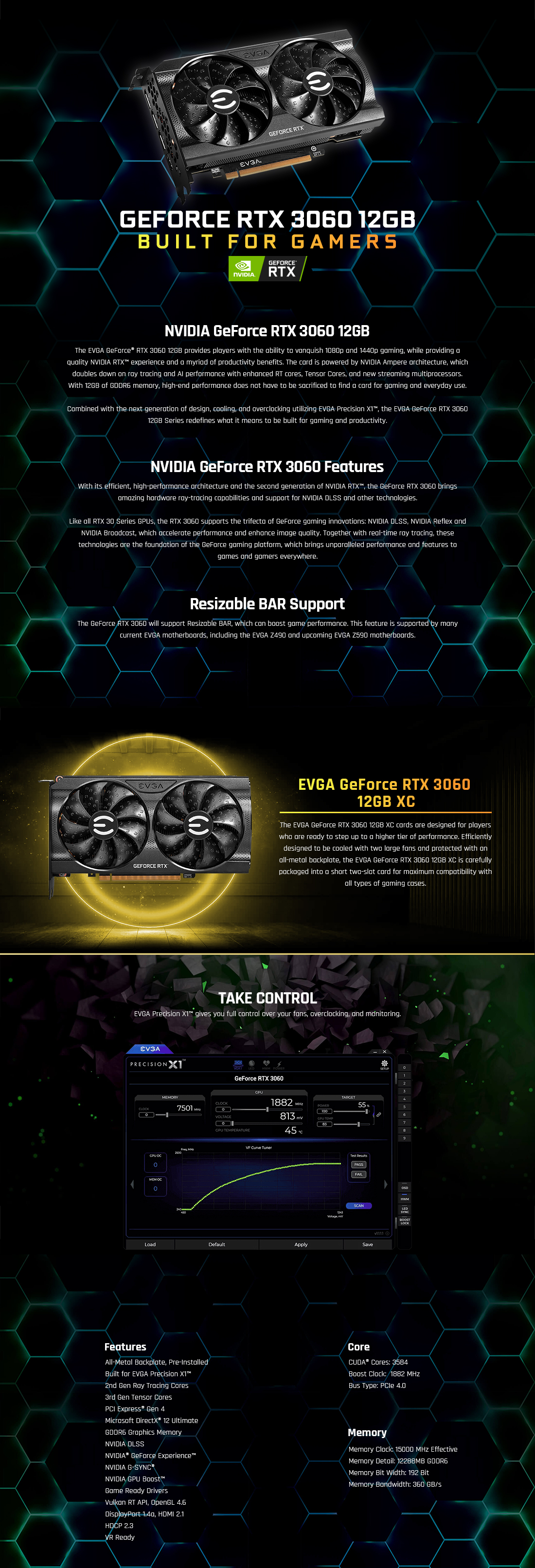 A large marketing image providing additional information about the product eVGA GeForce RTX 3060 XC 12G GDDR6 - Additional alt info not provided