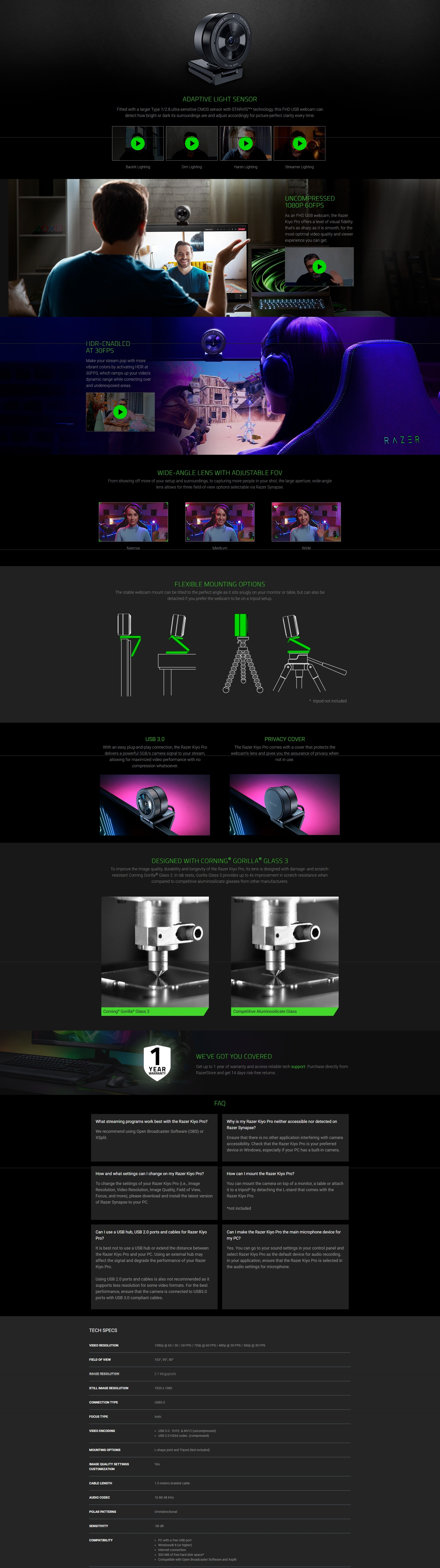 A large marketing image providing additional information about the product Razer Kiyo Pro - USB Camera with High-Performance Adaptive Light Sensor  - Additional alt info not provided