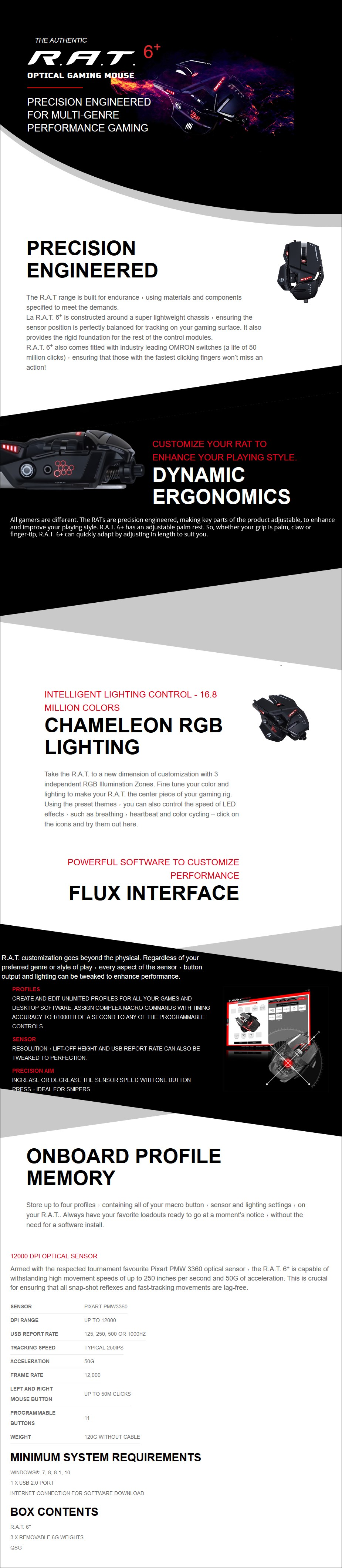 A large marketing image providing additional information about the product Mad Catz R.A.T. 6+ Gaming Mouse Black - Additional alt info not provided