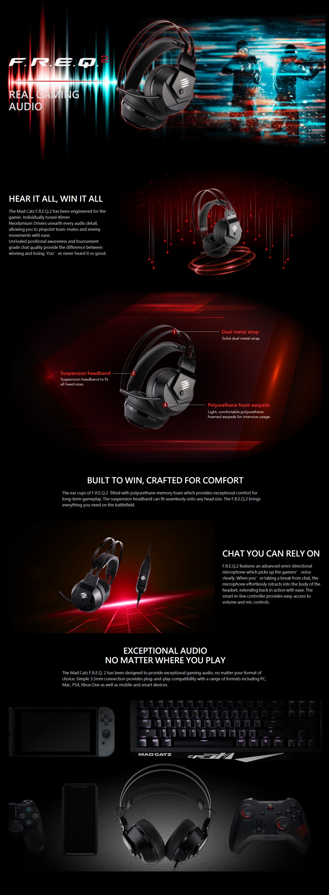 A large marketing image providing additional information about the product Mad Catz F.R.E.Q. 2 Gaming Headset Black - Additional alt info not provided