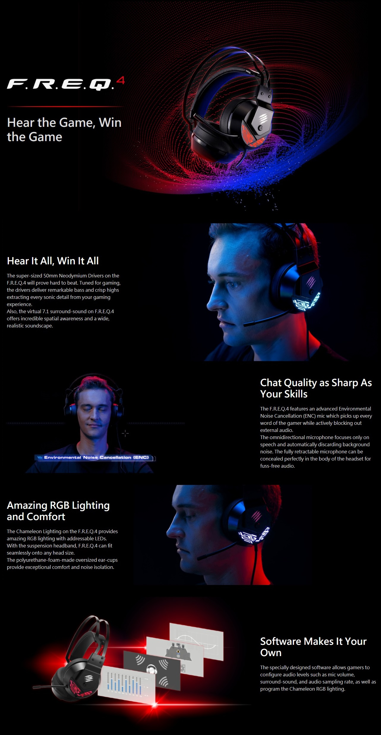A large marketing image providing additional information about the product Mad Catz F.R.E.Q. 4 Gaming Headset Black - Additional alt info not provided