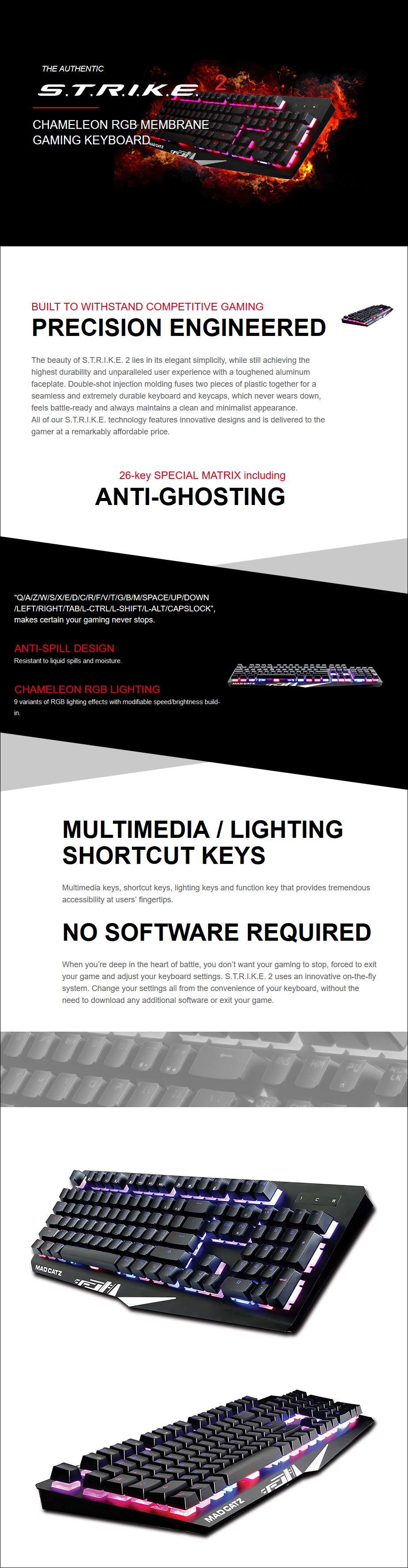 A large marketing image providing additional information about the product Mad Catz S.T.R.I.K.E 2 Gaming Keyboard Black - Additional alt info not provided