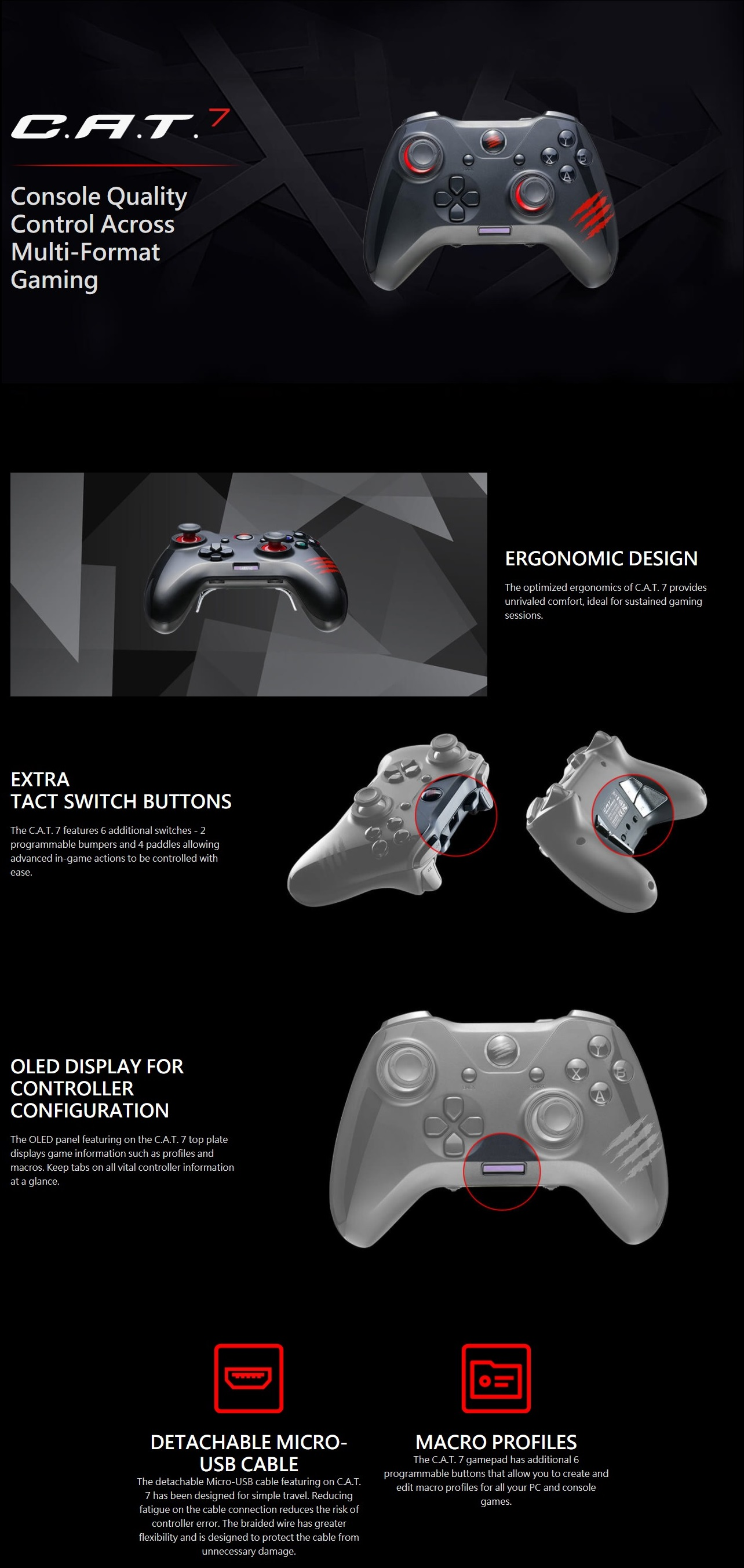 A large marketing image providing additional information about the product Mad Catz C.A.T. 7 Game Pad - Additional alt info not provided