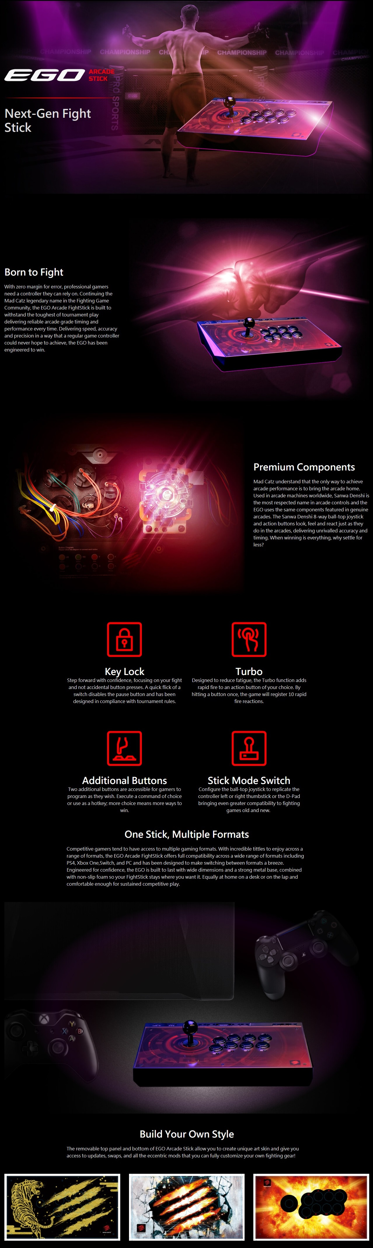 A large marketing image providing additional information about the product Mad Catz E.G.O. Arcade Stick - Additional alt info not provided