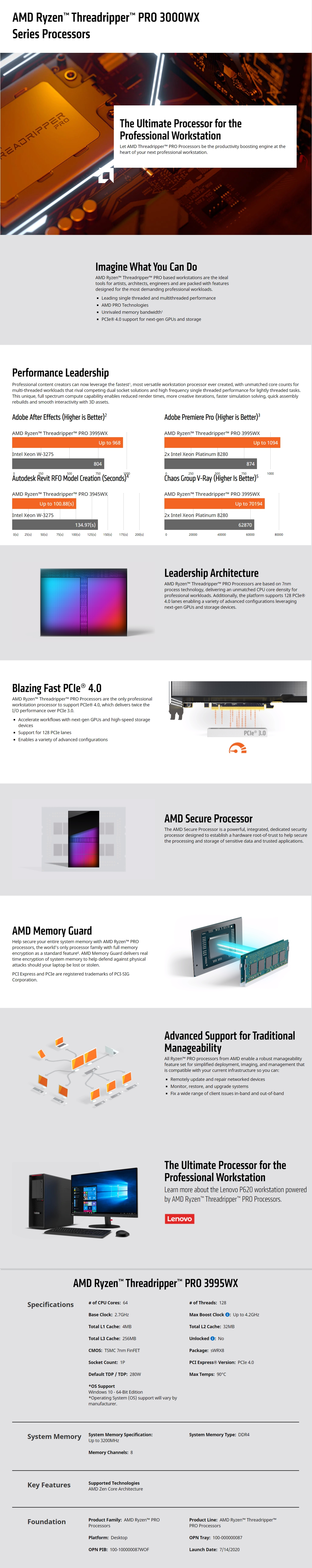 A large marketing image providing additional information about the product AMD Ryzen Threadripper PRO 3995WX 64 Core 128 Thread Up To 4.2Ghz 256MB sWRX8 Processor - No HSF Retail Box - Additional alt info not provided
