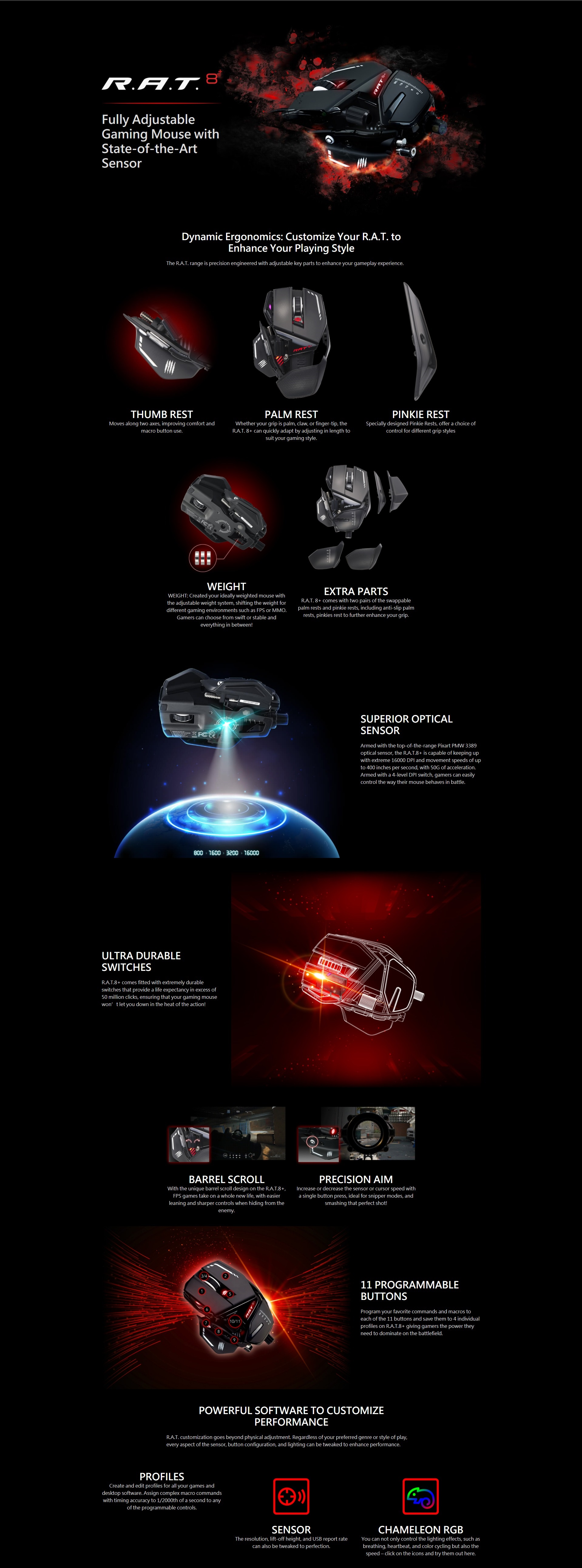 A large marketing image providing additional information about the product Mad Catz R.A.T. 8+ Gaming Mouse Black - Additional alt info not provided