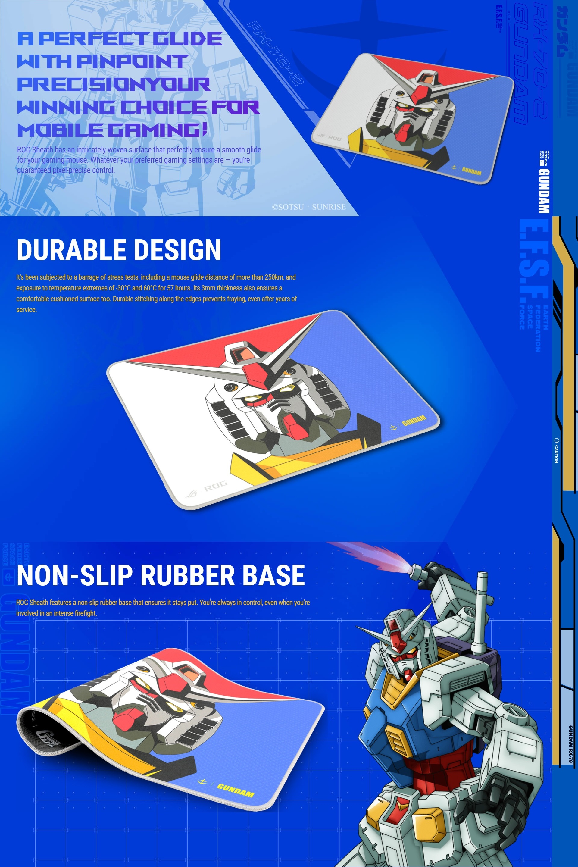 A large marketing image providing additional information about the product ASUS ROG Sheath Gaming Mousemat - Gundam - Additional alt info not provided
