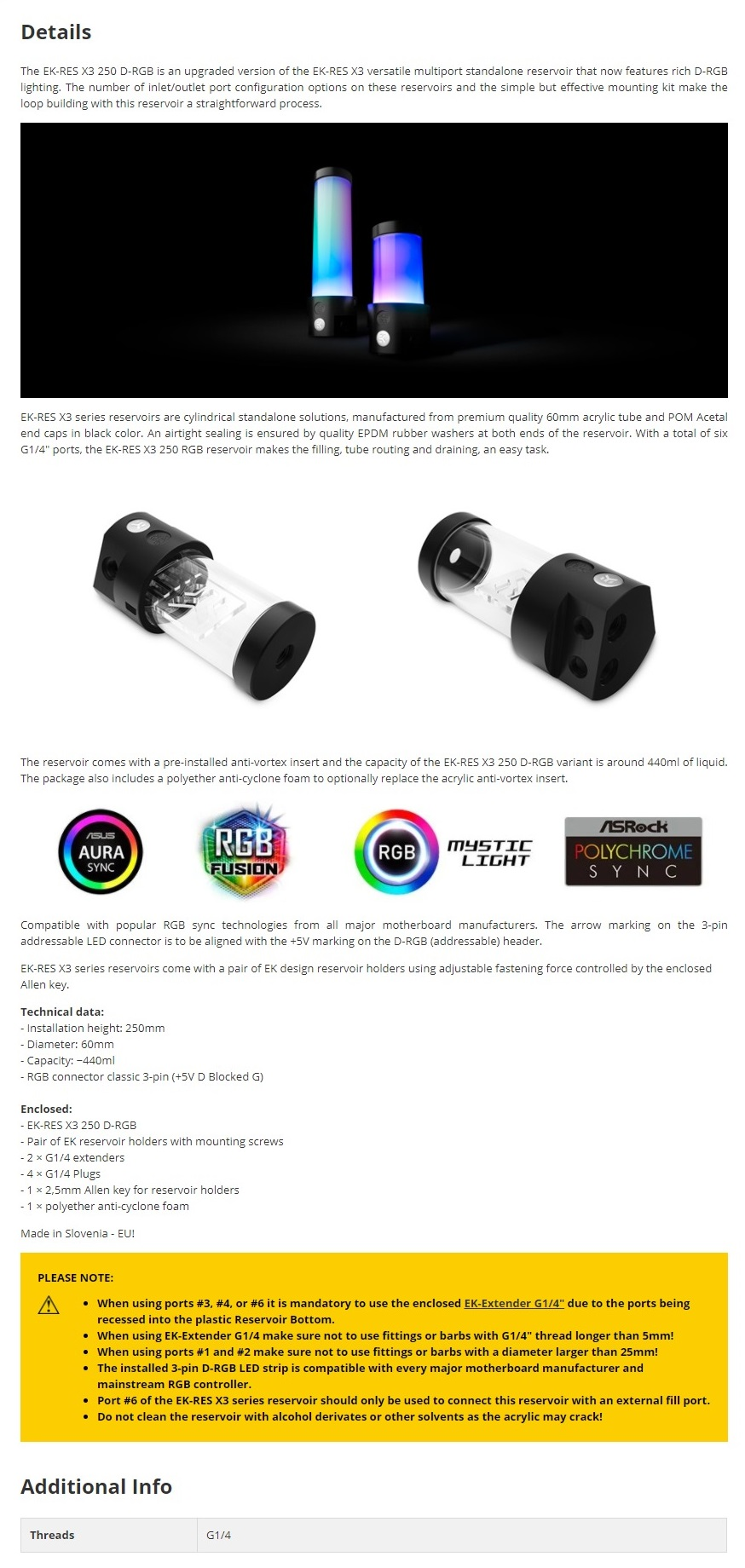 A large marketing image providing additional information about the product EK RES X3 250 D-RGB 250mm Tube Reservoir - Acetal - Additional alt info not provided