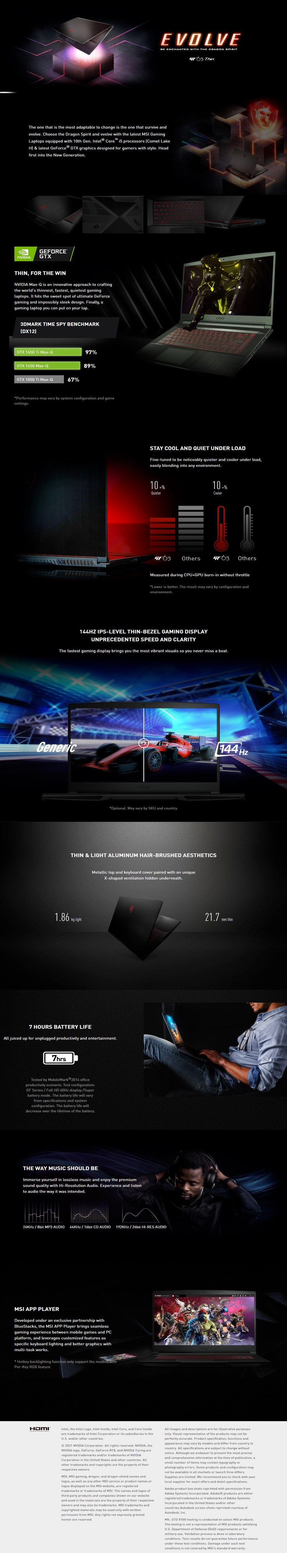 """A large marketing image providing additional information about the product MSI GF63 Thin 10SC 15.6"""" i5 10th Gen GTX 1650 Windows 10 Home Gaming Notebook  - Additional alt info not provided"""
