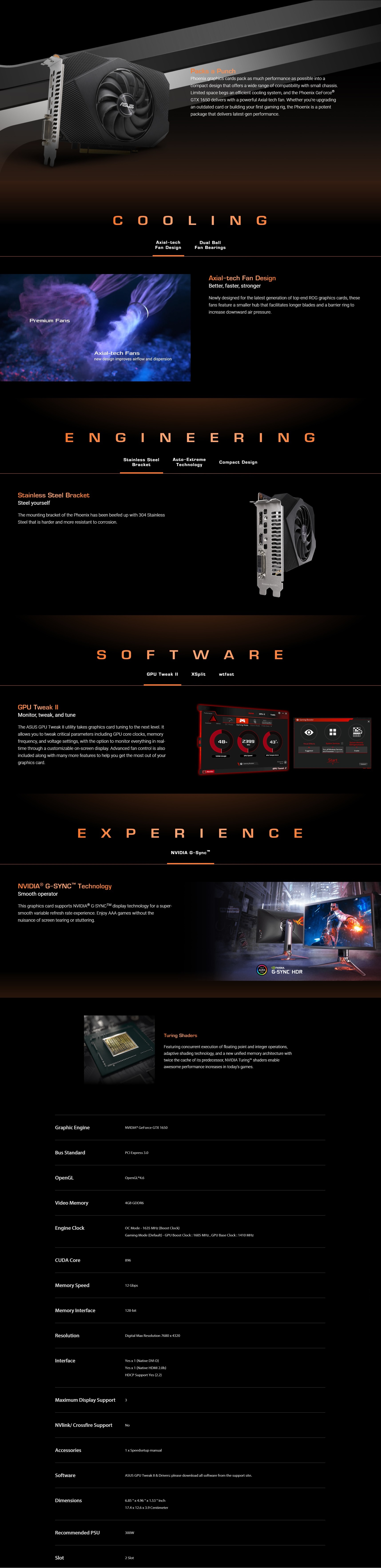 A large marketing image providing additional information about the product ASUS GeForce GTX 1650 Phoenix 4GB GDDR6 - Additional alt info not provided