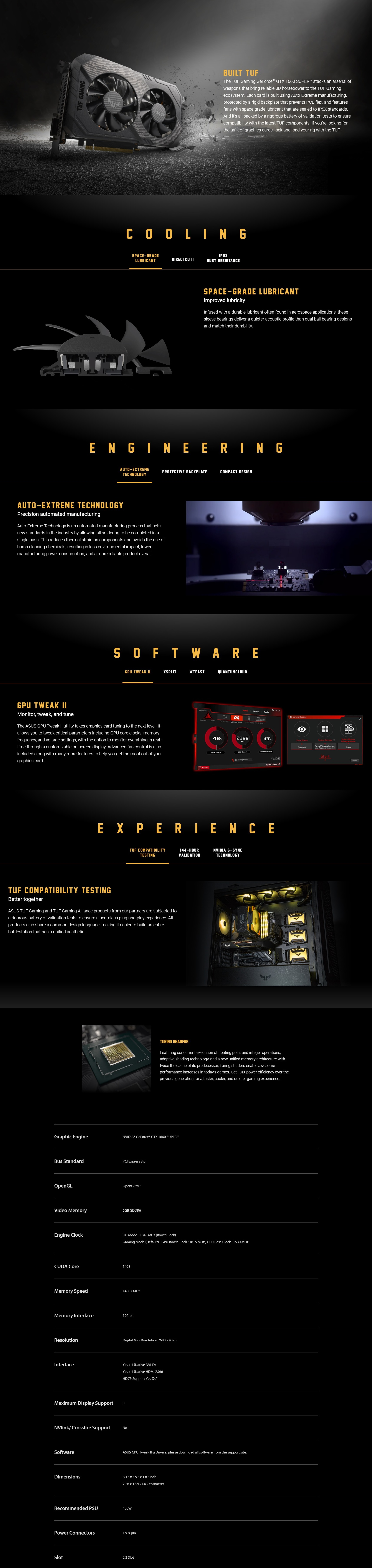 A large marketing image providing additional information about the product ASUS GeForce GTX 1660 Super TUF Gaming OC 6GB GDDR6 - Additional alt info not provided