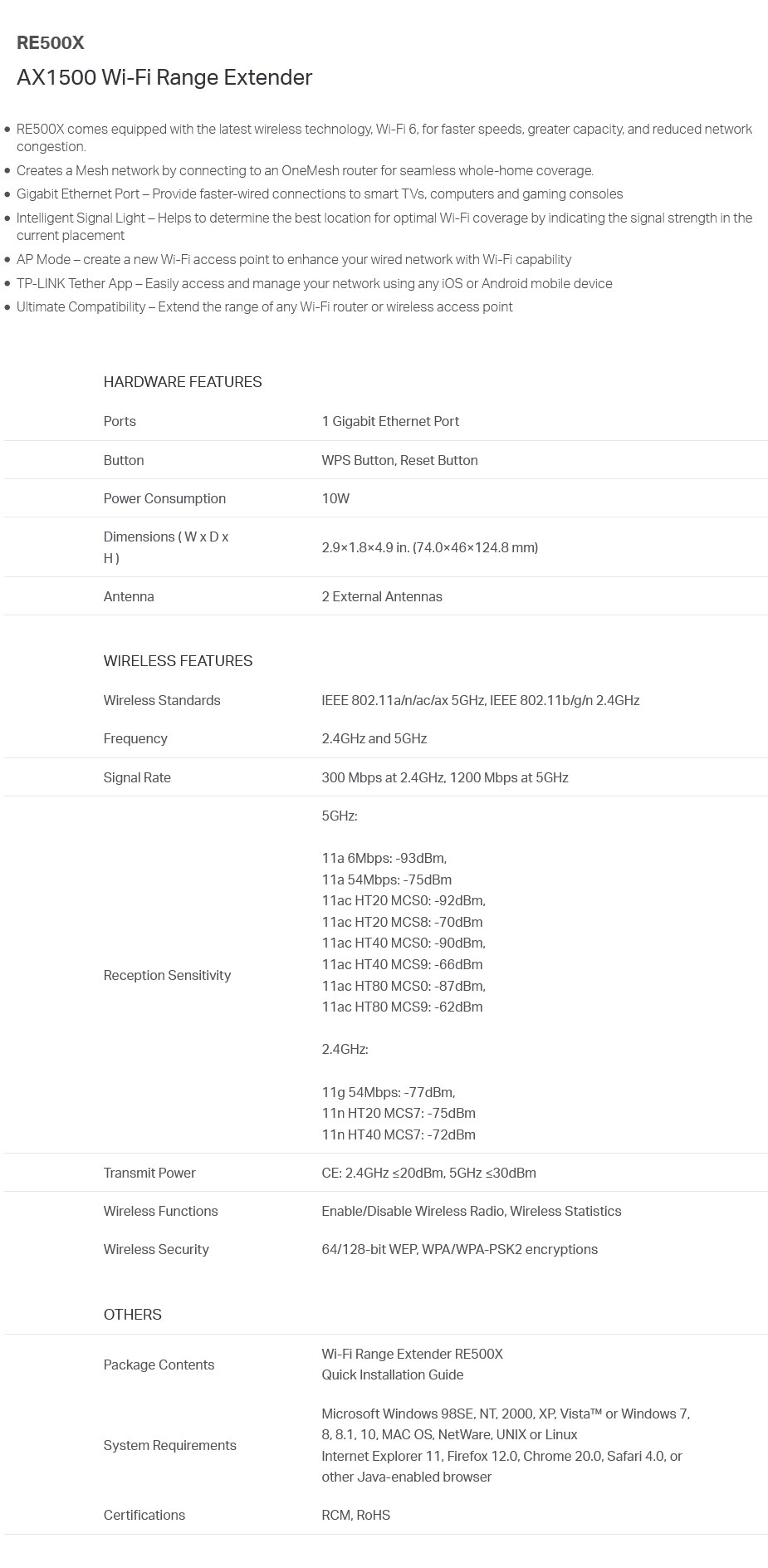 A large marketing image providing additional information about the product TP-LINK RE500X AX1500 WiFi Range Extender - Additional alt info not provided