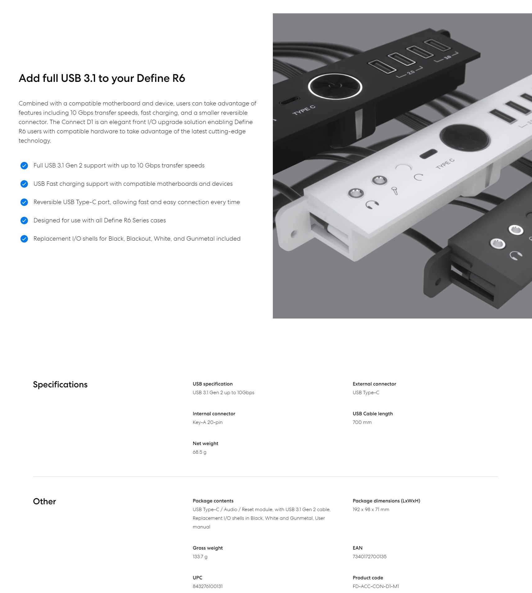 A large marketing image providing additional information about the product Fractal Design Connect D1 USB3.1. Gen 2 up to 10 Gbps - Additional alt info not provided