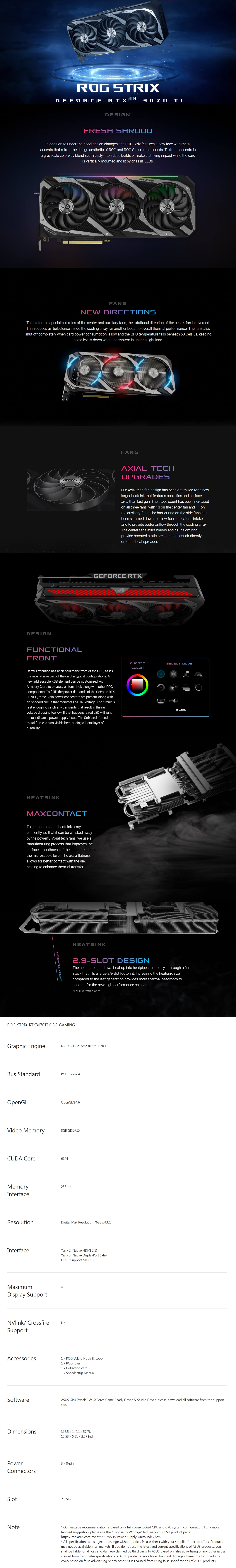 A large marketing image providing additional information about the product Asus GeForce RTX 3070 Ti ROG Strix OC 8GB GDDR6X - Additional alt info not provided