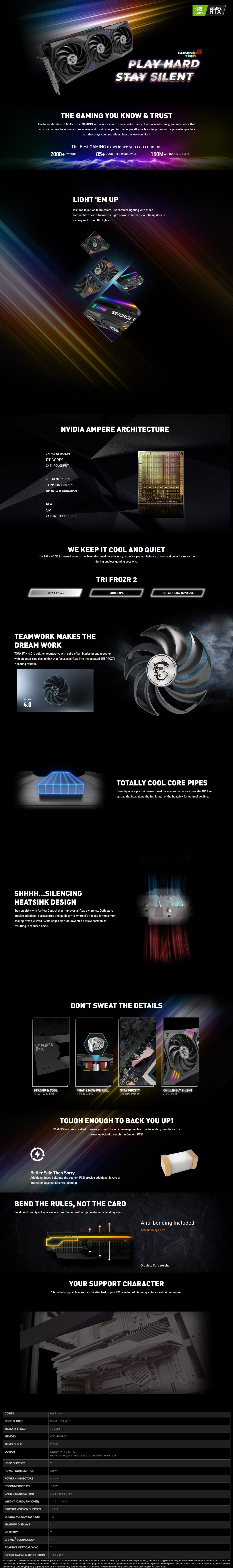 A large marketing image providing additional information about the product MSI GeForce RTX 3070 Ti Gaming X Trio 8GB GDDR6X - Additional alt info not provided