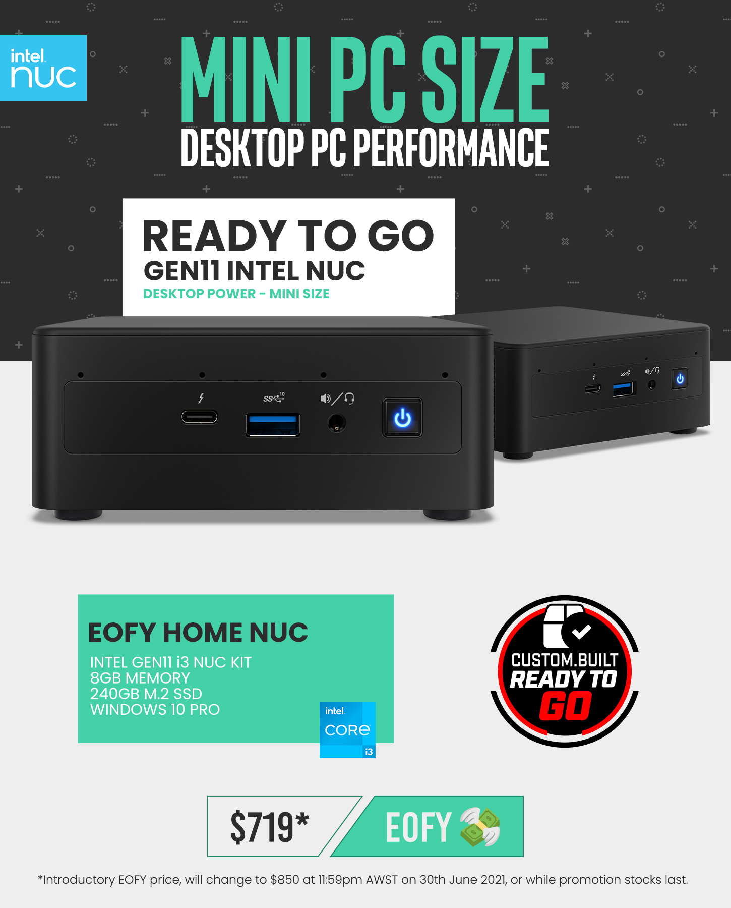 A large marketing image providing additional information about the product EOFY Home 11th Gen i3 NUC Prebuilt Mini PC - Additional alt info not provided