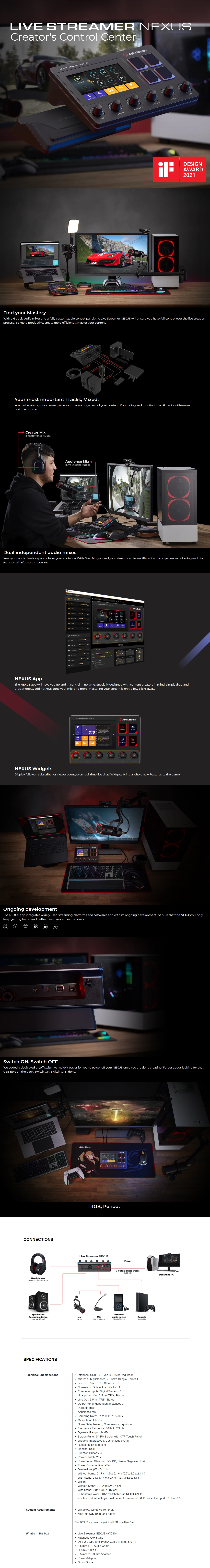A large marketing image providing additional information about the product Avermedia AX310 Live Streamer Nexus - Additional alt info not provided
