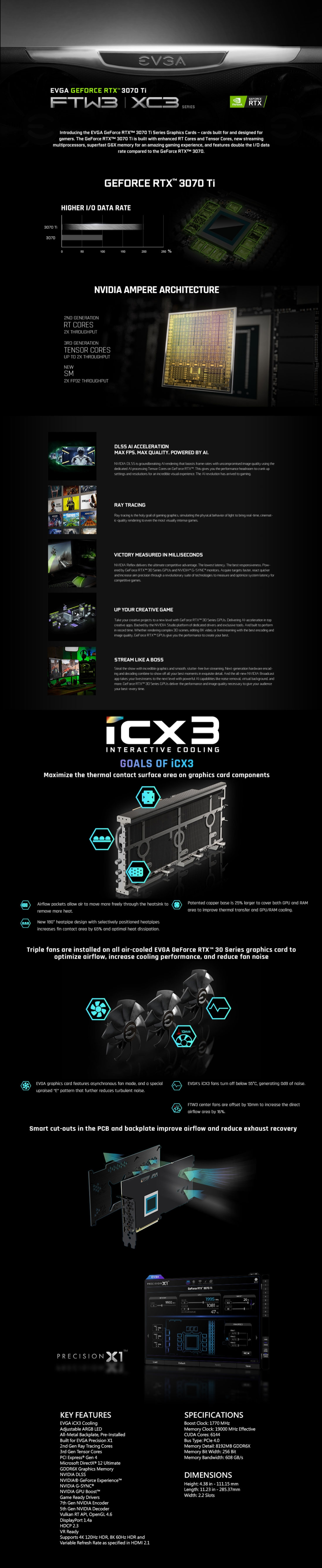 A large marketing image providing additional information about the product eVGA GeForce RTX 3070 Ti XC3 Ultra 8GB GDDR6X  - Additional alt info not provided
