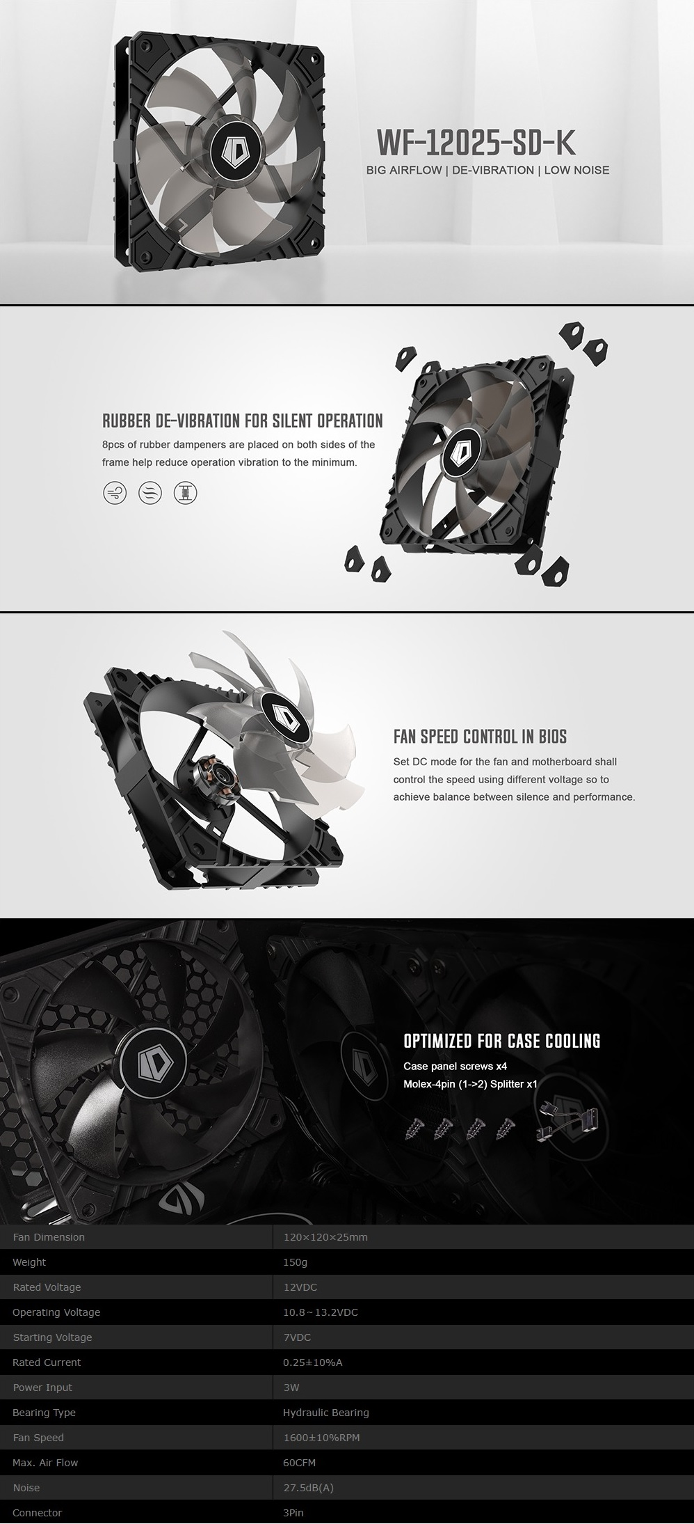 A large marketing image providing additional information about the product ID-COOLING WF Series 120mm Anti-Vibration High Airflow Case Fan - Additional alt info not provided