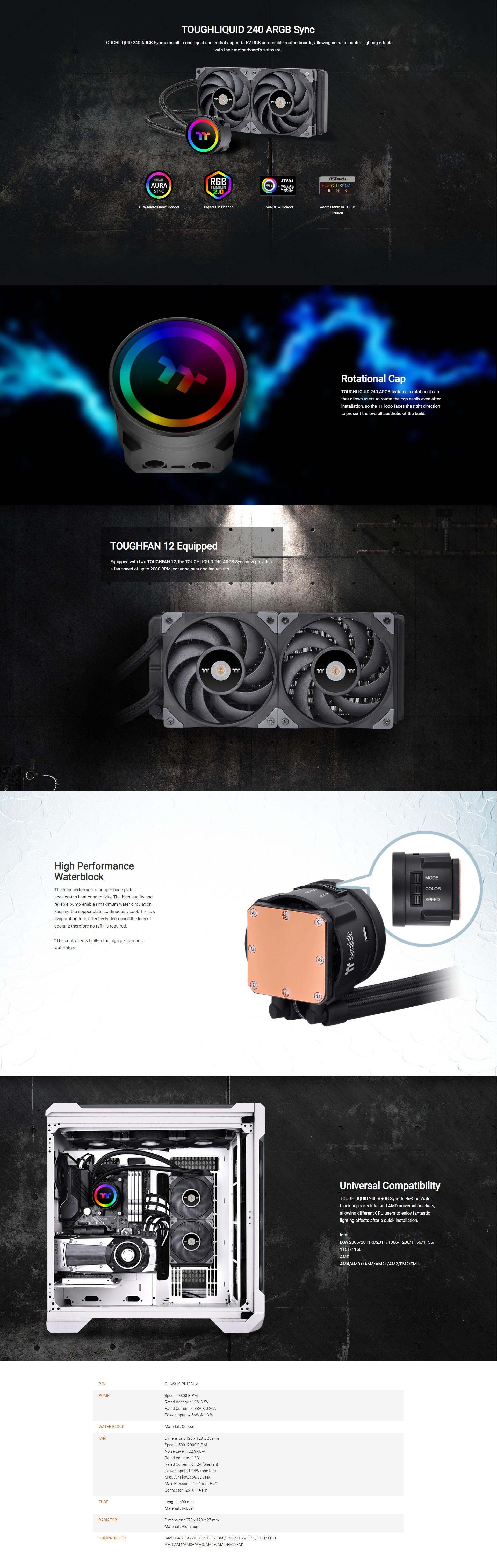 A large marketing image providing additional information about the product Thermaltake ToughLiquid ARGB 240 CPU Cooler - Additional alt info not provided