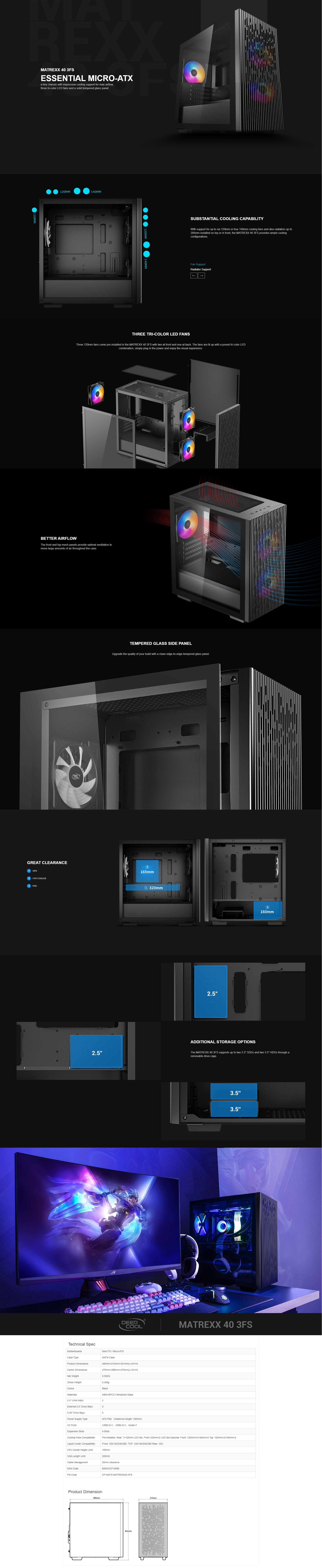 A large marketing image providing additional information about the product Deepcool Matrexx 40 3FS Black mATX Mid Tower Case w/ Tempered Glass Side Panel - Additional alt info not provided