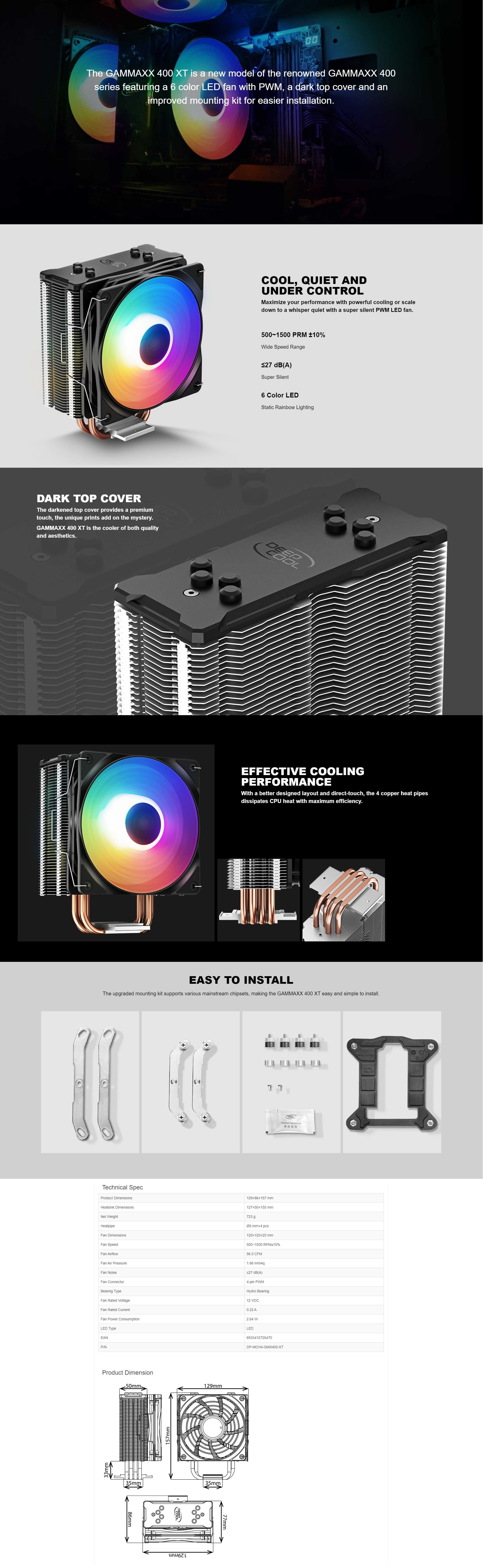 A large marketing image providing additional information about the product Deepcool GAMMAXX 400 XT RGB CPU Air Cooler - Additional alt info not provided