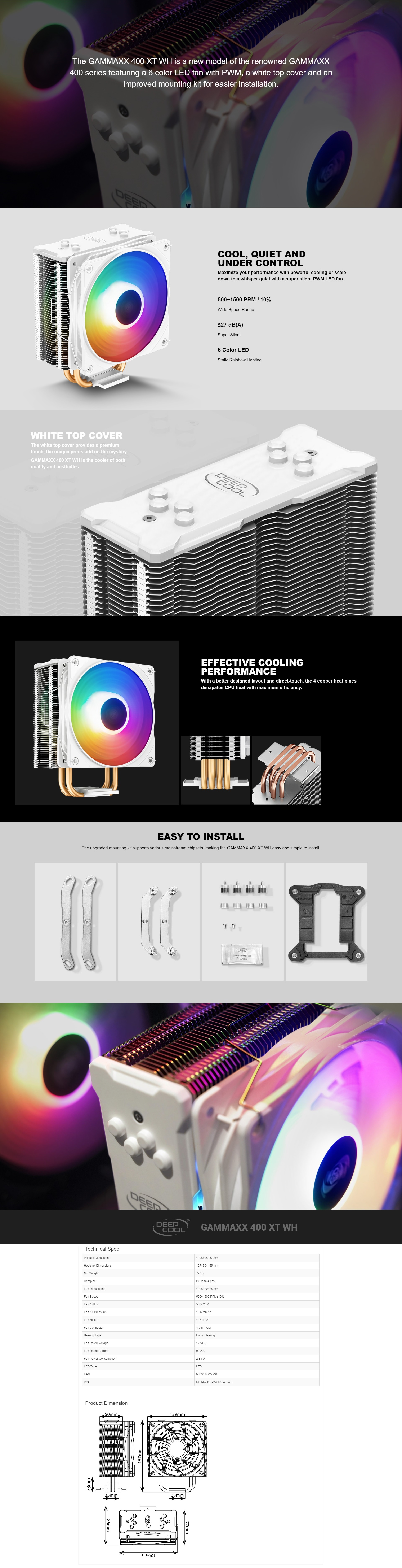 A large marketing image providing additional information about the product Deepcool GAMMAXX 400 XT White RGB CPU Air Cooler - Additional alt info not provided