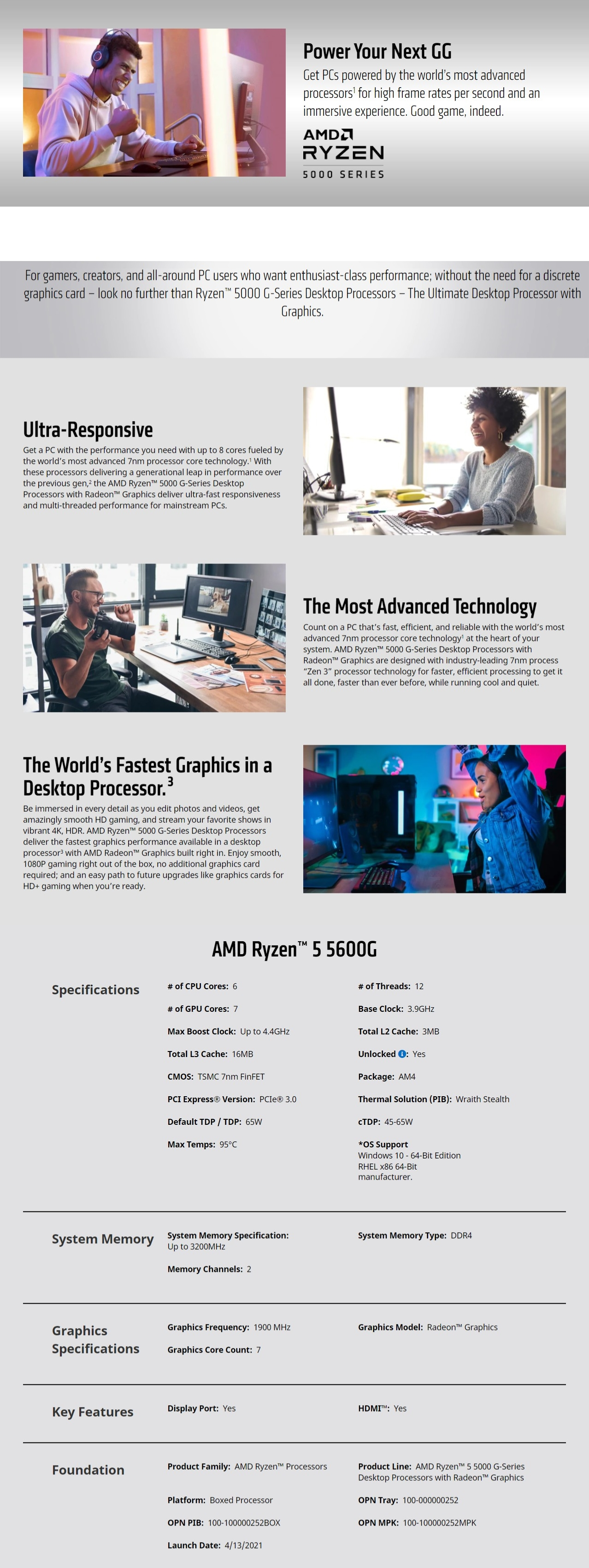 A large marketing image providing additional information about the product AMD Ryzen 5 5600G 6 Core 12 Thread Up To 4.4Ghz AM4 APU Retail Box - With Wraith Stealth Cooler - Additional alt info not provided