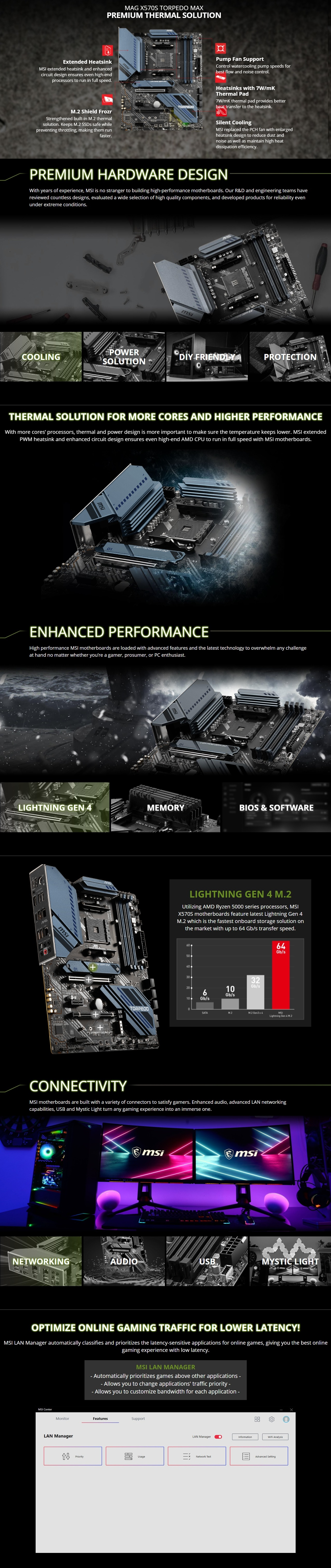 A large marketing image providing additional information about the product MSI MAG X570S Torpedo MAX AM4 ATX Desktop Motherboard - Additional alt info not provided