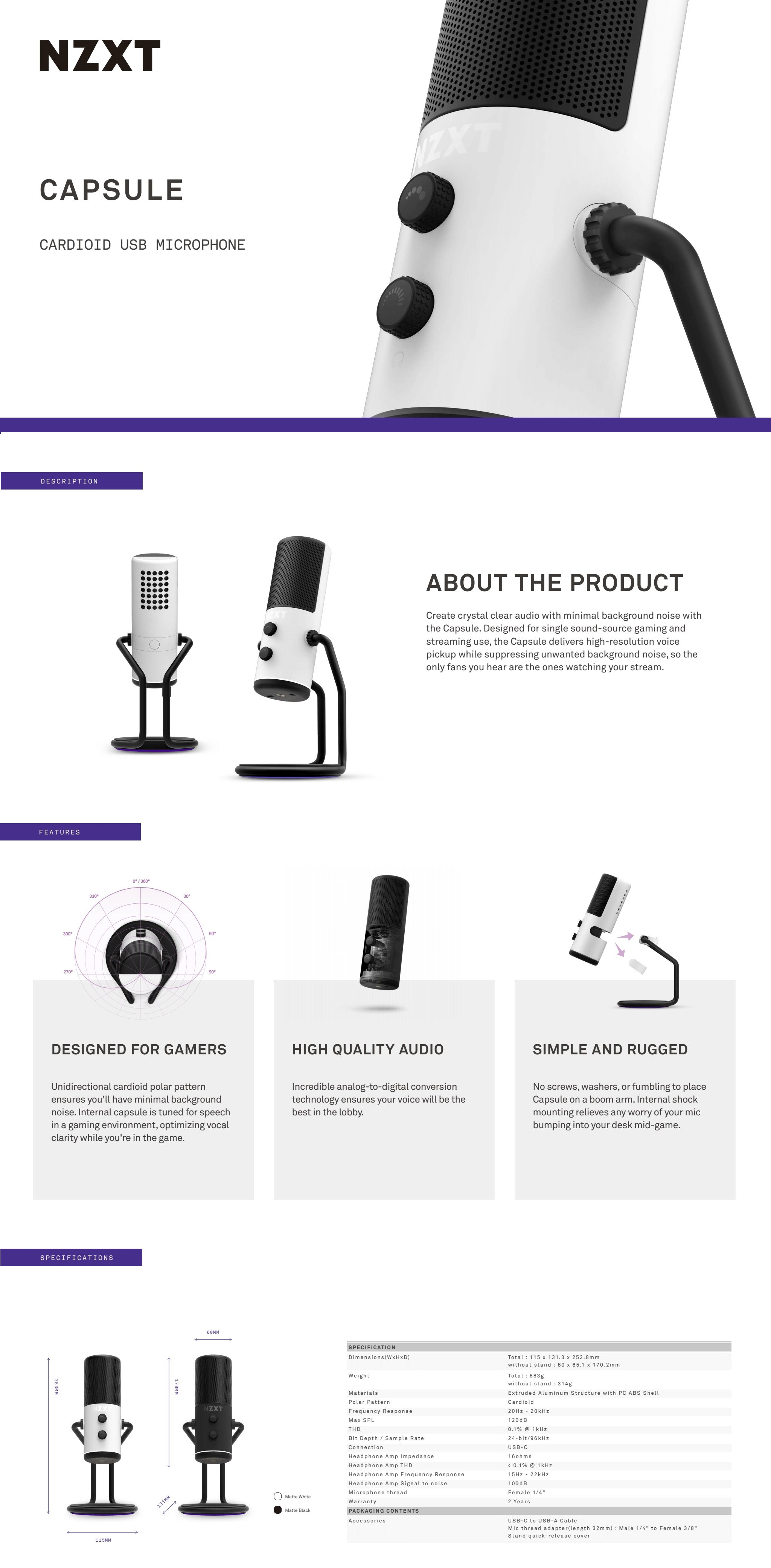 A large marketing image providing additional information about the product NZXT Capsule Wired USB Cardioid Microphone - White - Additional alt info not provided